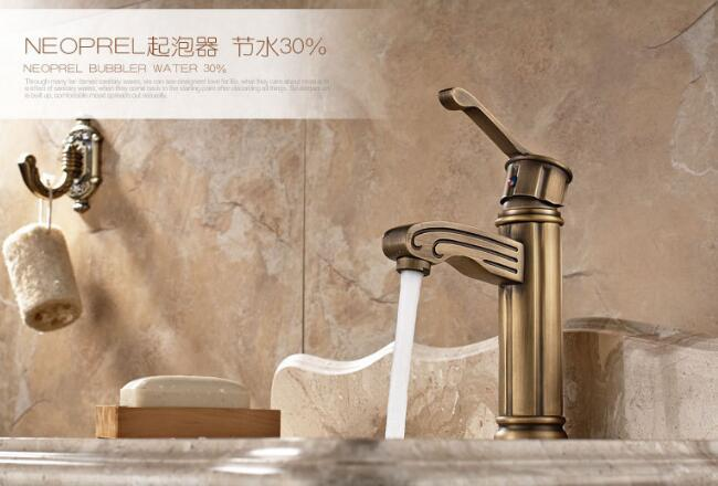 Top quality Unique Deck Mount Bathroom & Kitchen Basin Faucet Antique Pattern Mixer Tap hot and cold water taps faucets shell starfish deck pattern water absorption area rug