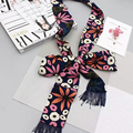 Luna&Dolphin Womens Small Long Silk Scarf Spring Flowers Printed Chiffon Scarves 190x6cm Little Scarf Handbag Ribbon