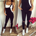 2016 Autumn Women Jumpsuit Back Hollow Out Overalls Strap Jumpsuits Women Bodysuit With Pocket Femme Sleeveless Rompers