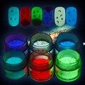 6 Unids 10g Luminoso Glitter Polvo Del Polvo Fluorescente Glow In The Dark Star Luna Pigmento Paillette Manicura Nail Art lentejuelas