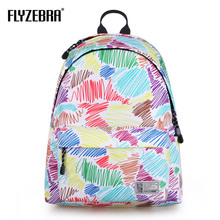 2018 Canvas printing Color line doodle Backpack  Women School Backpacks Schoolbag For Teenagers  Student Book Bag Girls Satchel college girl canvas 3pcs backpack letters printing women usb school backpacks schoolbag for teenagers student book shoulder bags