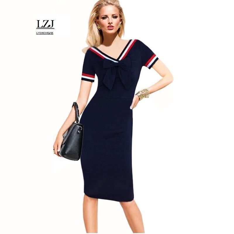 LZJ Hot new summer ladies retro dress vestidos professional women pencil  jacket V neck pure color 2ec18b52c630