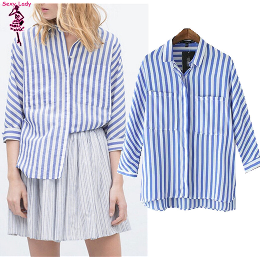 Vintage contrast blue white vertical striped print for Blue and white striped shirt with white collar