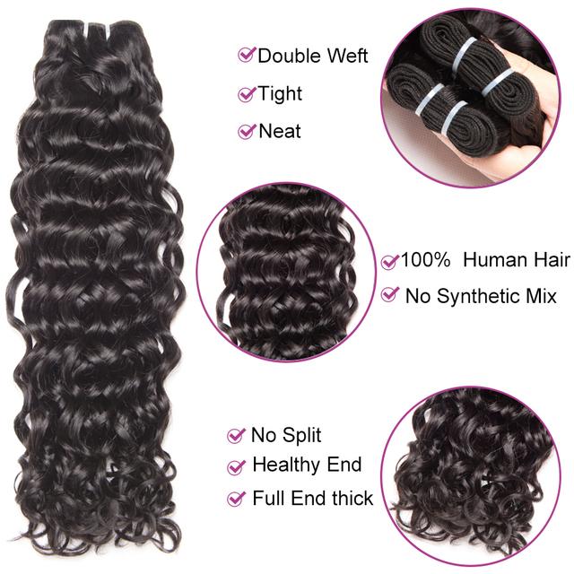 """Peruvian Water Wave Hair Bundles Human Hair Bundles 1/3/ 4 Bundle Deals 10-28"""" #2/#4/Natural Color Non-Remy Hair Extension"""