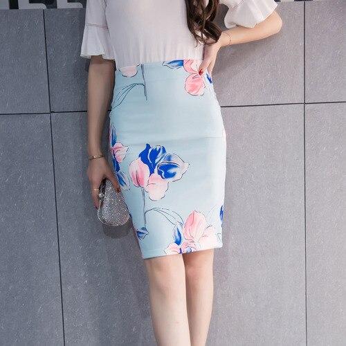 b8f00e8fb5a Women Fashion Knee Skirt High Waist High Quality Romantic Flower Print  Pencil Mid OL Blue Skirt Plus Size Free Shipping S-3XL