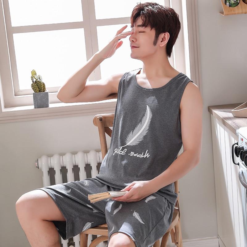 Plus Size L - 4XL Sleepwear Men's Pajamas Summer Sleeveless Vest Sleepwear Cotton Pyjamas Men Lounge Pajama Sets