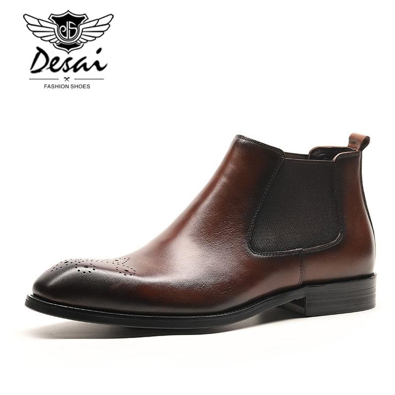 DESAI wysokiej jakości męskie wysokie buty prawdziwej skóry Chelsea Boot biznes sukienka buty brytyjski Slip on krótkie buty oksfordzie męskie w Buty sztyblety od Buty na  Grupa 2