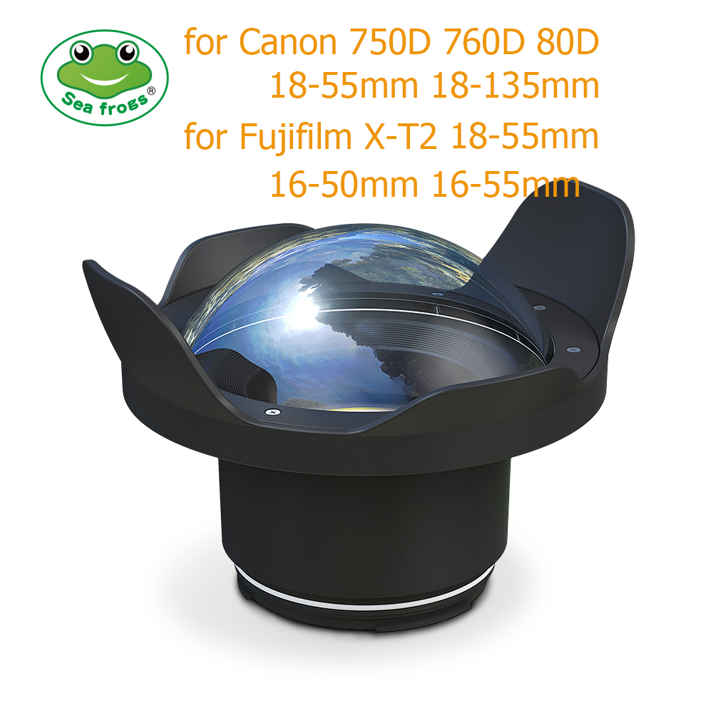 Underwater 40m Photography Wide Angle Lens Dome Port For Canon 750D 760D 80D Fujifilm X-T2 Housing Case Camera Fisheye Filter meikon 40m wp dc44 waterproof underwater housing case 40m 130ft for canon g1x camera 18 as wp dc44