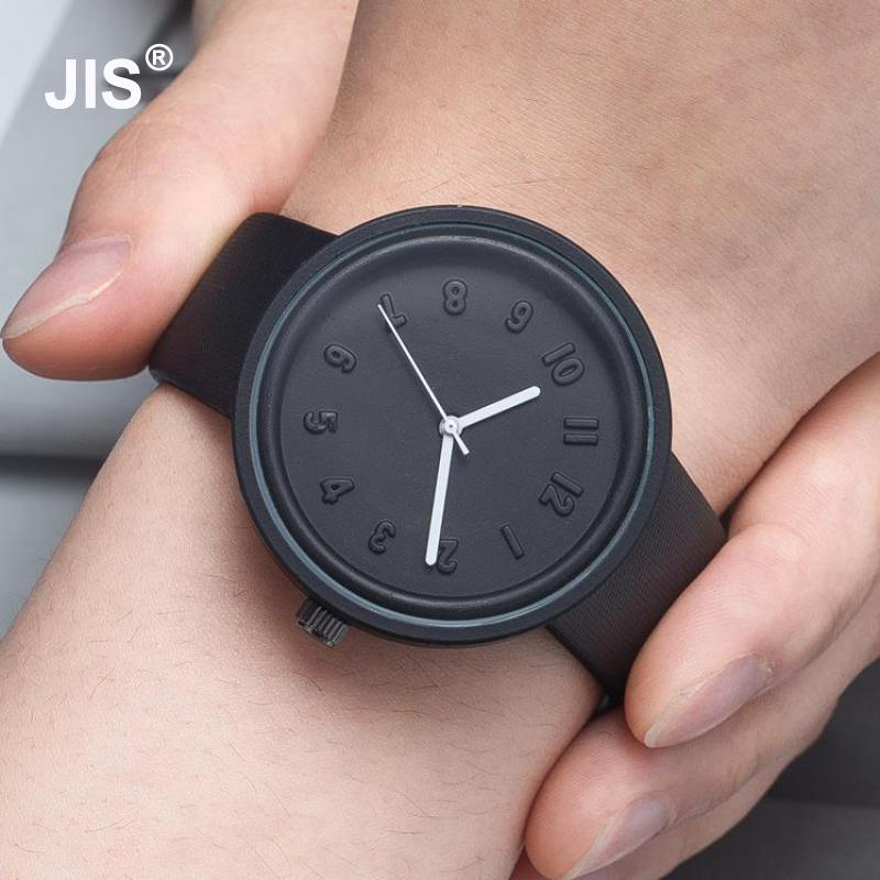 2017 Fashion Emboss Cute Hot Pink Black PU Leather Quartz Wristwatch Wrist Watch for Women Men