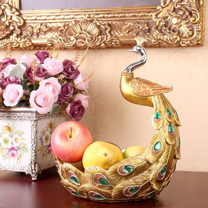 Xxxg/D Европейский стиль журнальный столик украшения комнаты Дома Ретро фрукты павлин смолы фрукты блюдо свадебный подарок