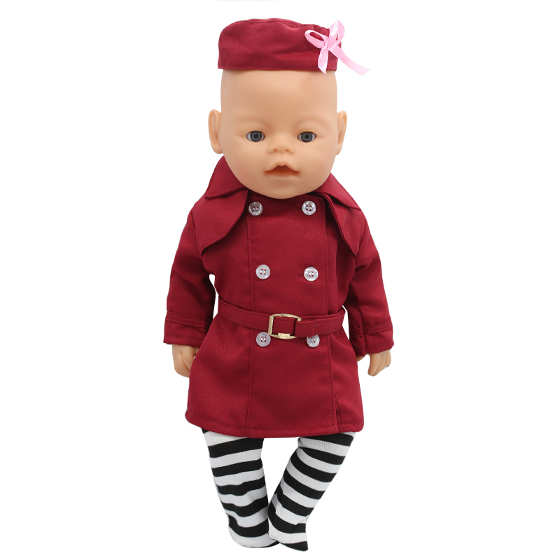 Zapf Baby Born Doll Clothes Stewardess Uniforms + Hat + Sock Suit Fit 43cm Zapf Baby Born Doll Accessories Girl Gift X-164 rose christmas gift 18 inch american girl doll swim clothes dress also fit for 43cm baby born zapf dolls