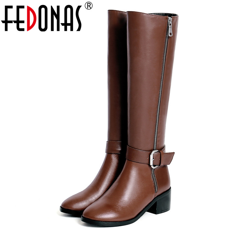 FEDONAS Brand Classic Design Women Knee High Boots High Heels Buckles Motorcycle Boots Genuine Leather Long Shoes Woman FEDONAS Brand Classic Design Women Knee High Boots High Heels Buckles Motorcycle Boots Genuine Leather Long Shoes Woman