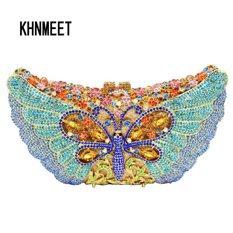 butterfly clutch bag purse Luxury crystal evening bags for women colorful rhinestones studded clutch bag wedding party Purse 107 luxury handbags women bags designer brand crystal evening clutch butterfly shaped golden women shoulder bag rhinestones crystals