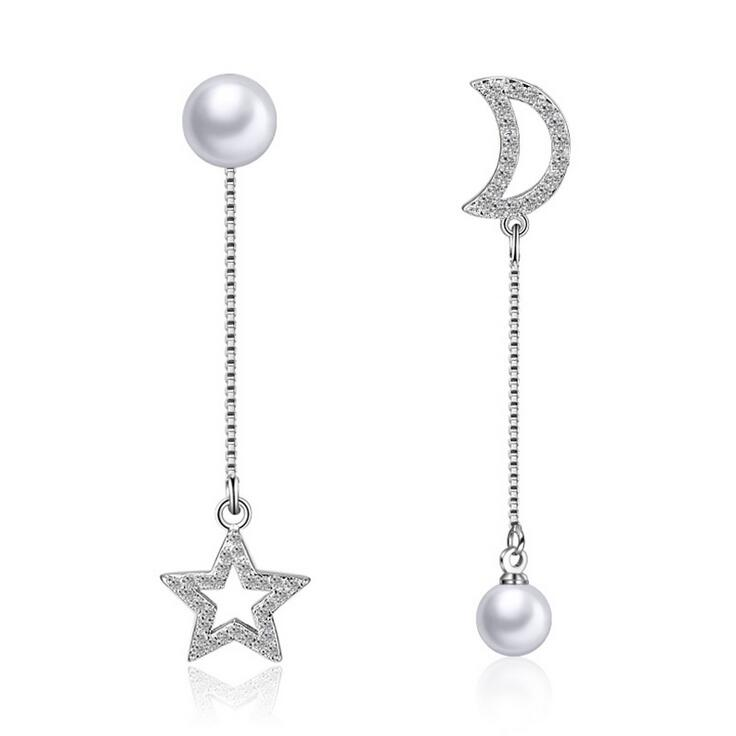 Նոր ժամանում տաք վաճառք նորաձևության լուսին և աստղ բյուրեղյա մարգարիտ 925 ստերլինգ արծաթյա տիկնայք երկար stud ականջողներ զարդեր մեծածախ նվեր