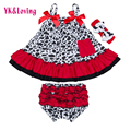 2016 Baby Girls Cotton Ruffled Swing Top Clothing Sets Bloomer Sets Swing Dress Back Outfits Infant Girls Clothes