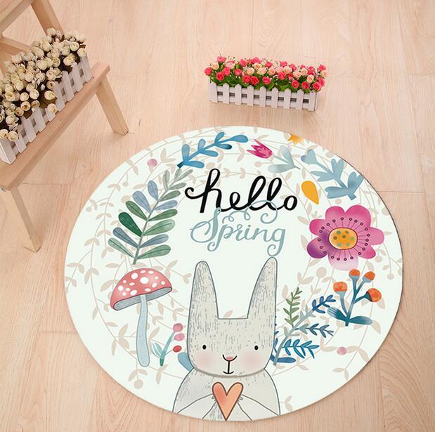 Schne Kaninchen Runde Teppich Durchmesser 60 80 100 Super Weichkorallen Fleece Wohnzimmer Kinder