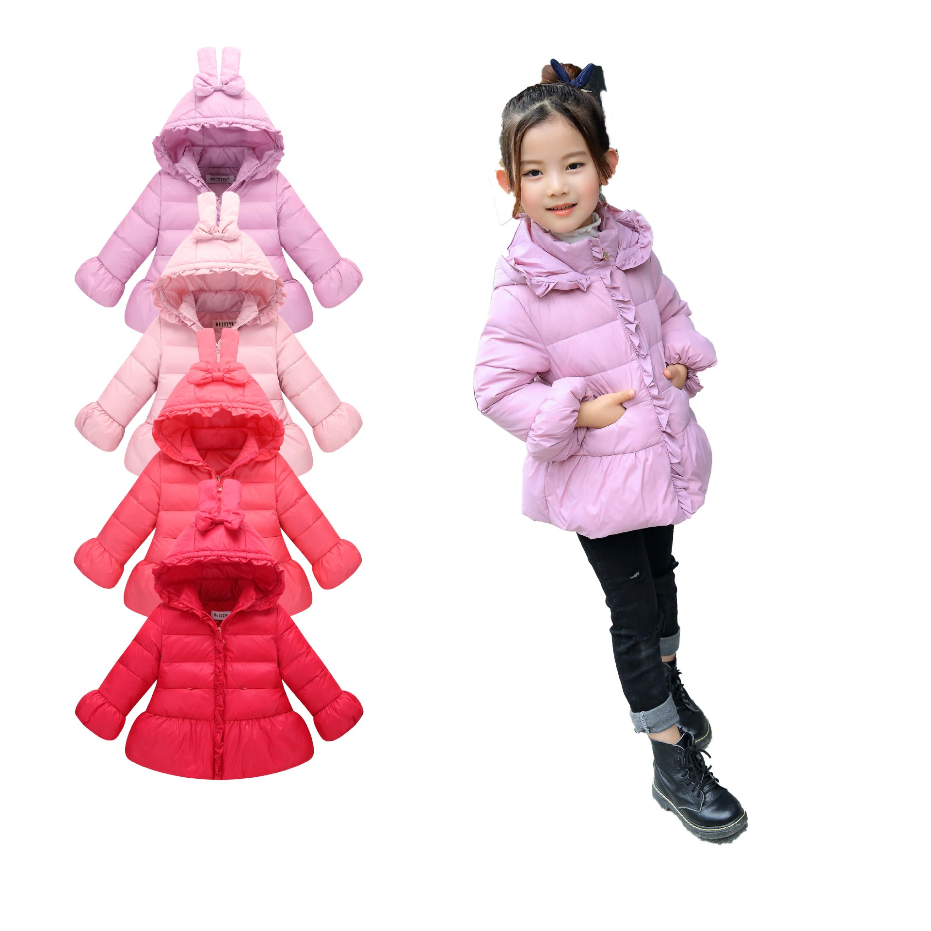 2017 Winter Boys Girls Sets Kids Cotton-Padded Coat Clothing Suit Children Cashmere Warm Baby rabbit ears Creative coat girls 2015 new autumn winter warm boys girls suit children s sets baby boys hooded clothing set girl kids sets sweatshirts and pant
