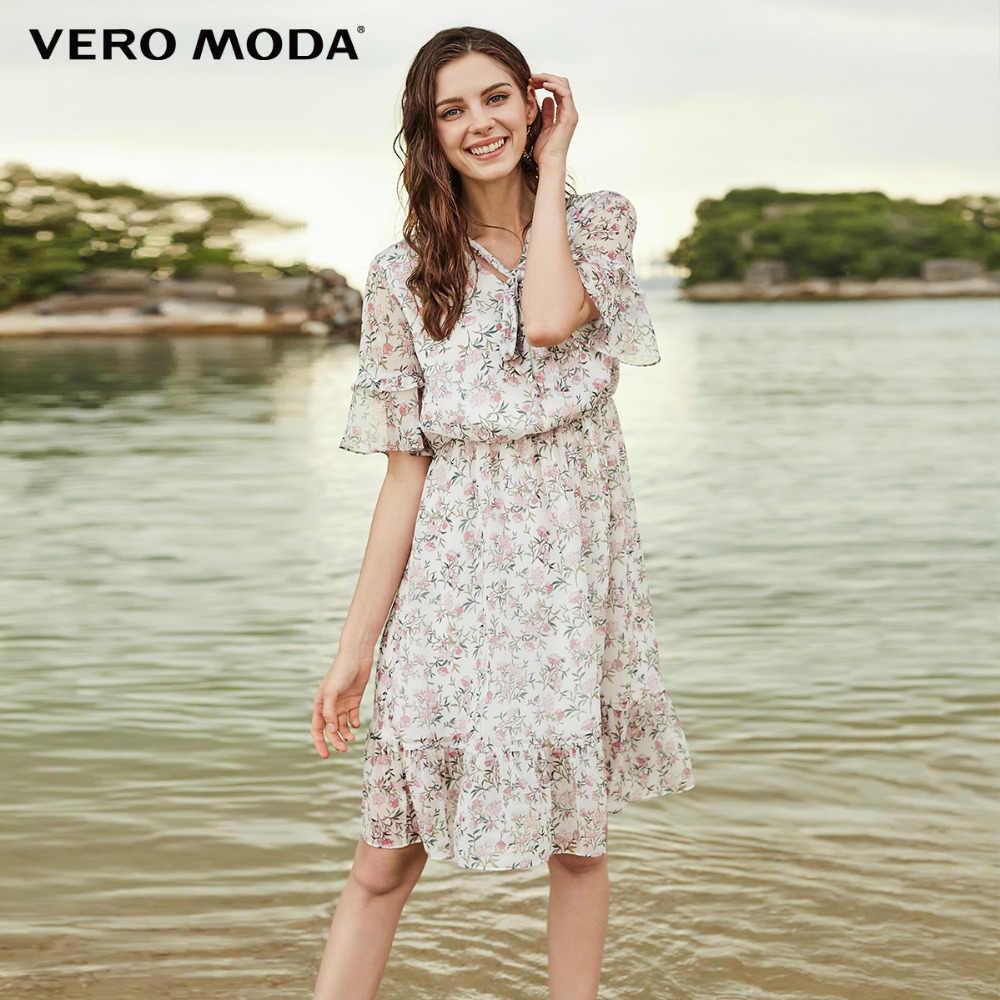 Vero Moda летнее пляжное платье с цветочным принтом и завязками 2019 | 31816Z509