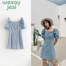 Korean Denim dress for women 2019 New Summer Casual Jeans Dress With button Short sleeve Vintage Sexy Mini denim