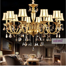 European style full copper K9 lamp, living room candle crystal LED lamp, American retro Villa lamp. цена