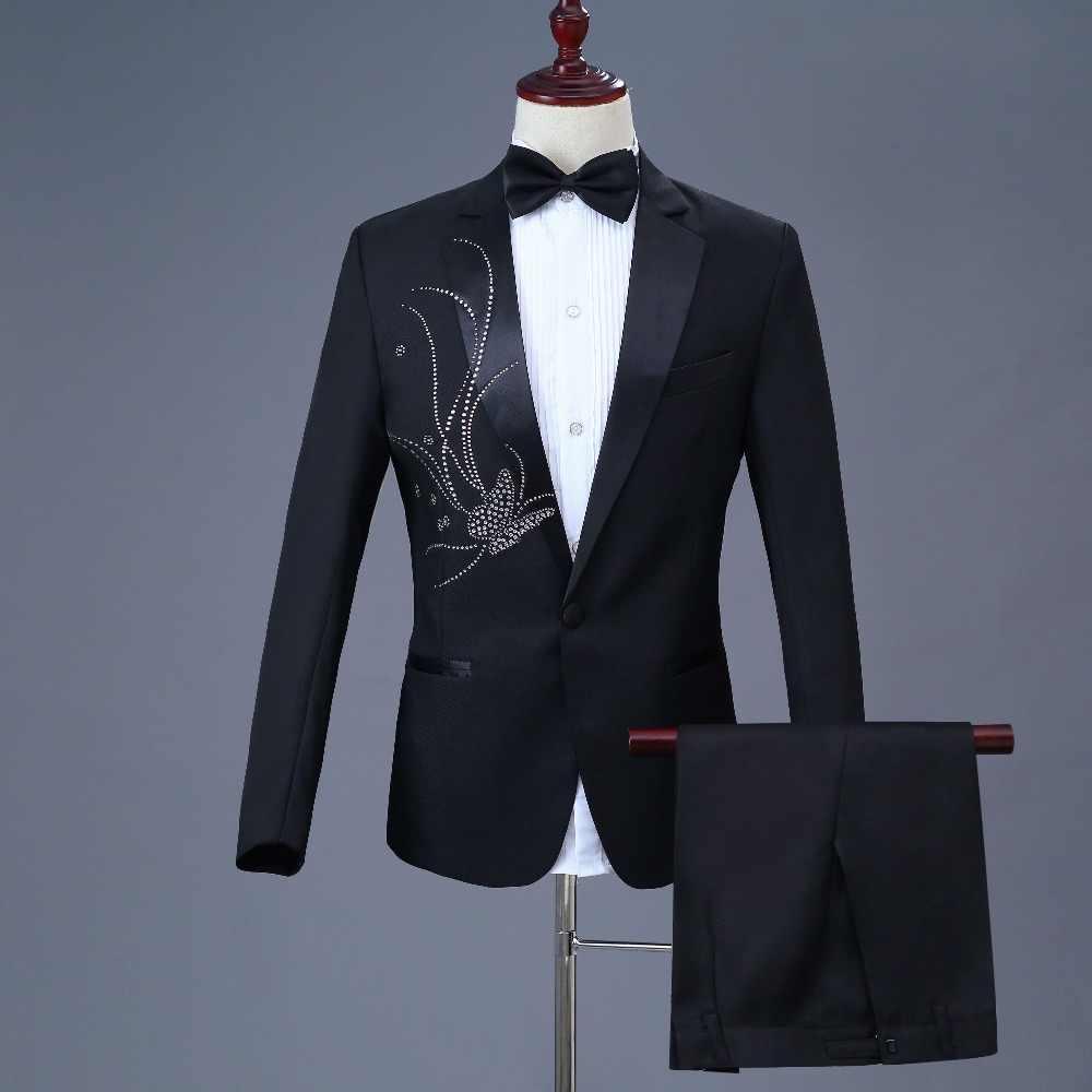 新しい到着2018衣装オムスリムフィット黒シングルブレストスーツ新郎摩耗男性の結婚式のスーツウエディングタキシードブレザー