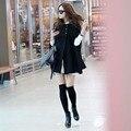 2016 женская мода осень зима свободные траншеи случайный мыс элегантный feminino рукавов черный плащ однобортный теплый траншеи
