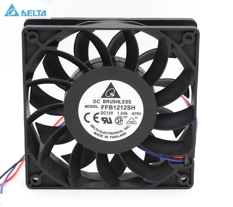 Delta FFB1212SH 12025 12 cm 120mm DC 12 V 1.24A 3-pin server inverter fall axial-kühler industrieventilatoren