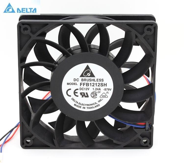 Delta FFB1212SH 12025 12 cm 120mm DC 12 V 1.24A 3-pin servidor inversor caso axial enfriador de ventiladores industriales