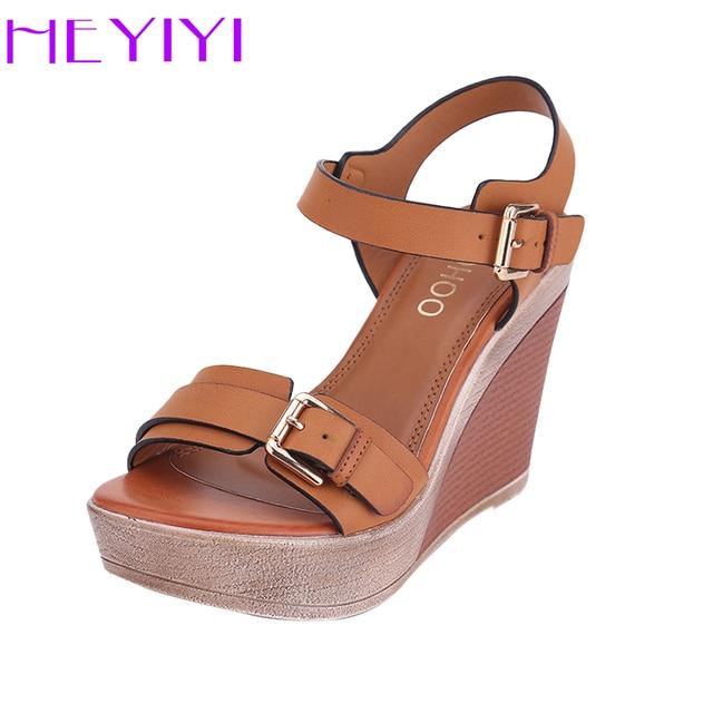 ผู้หญิงรองเท้าแตะแพลตฟอร์ม Wedges รองเท้าผู้หญิงรองเท้าส้นสูง 11 เซนติเมตร Camel แฟชั่นปรับหัวเข็มขัดผู้หญิงรองเท้าสบาย