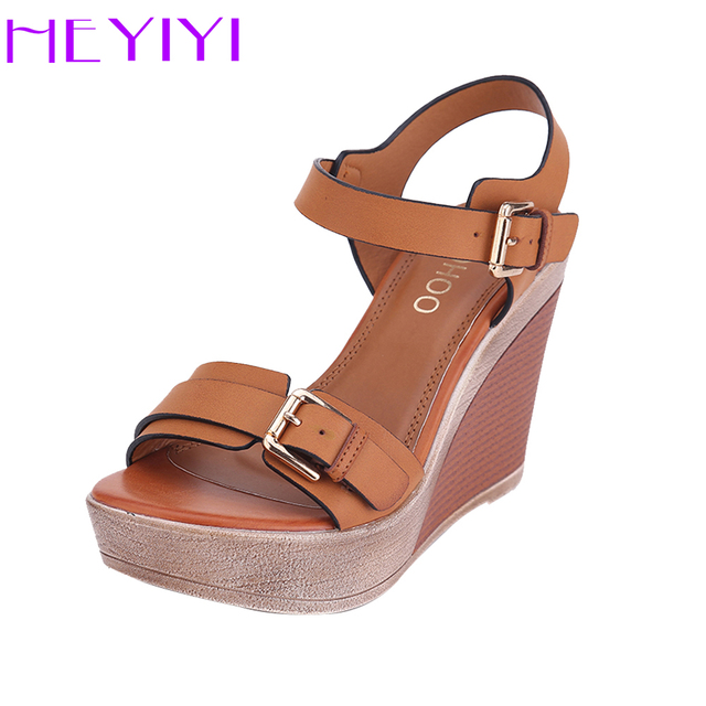 e6f0fc7c291b70 Women Sandals Platform Wedges Shoes for Women High-Heeled 11cm Camel Fashion  Adjustable Buckle Strap Ladies Shoes Comfortable