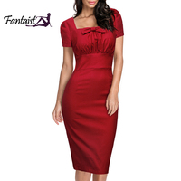 Fantaist Vintage Women Cute Bow Fitted Pencil Dress Tunic Pleated Elegant Party Formal Office Retro Sheath