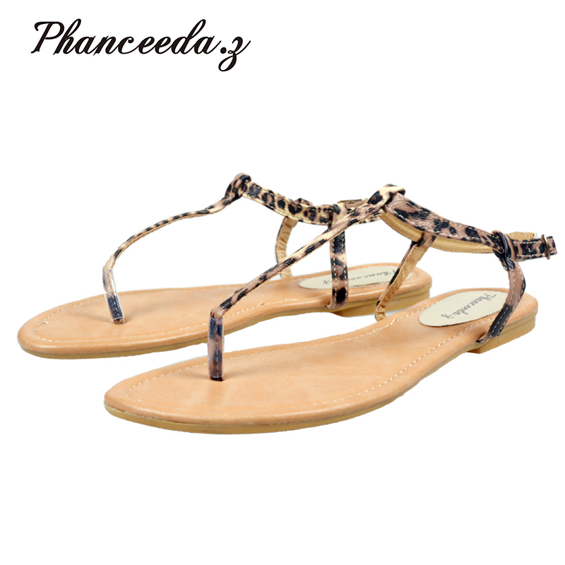 New 2017 Shoes Women Shoes Summer Sandals Leopard Flats Casual Shoes Buckle Beach Floral Sandals For Women Flip Flops instantarts women flats emoji face smile pattern summer air mesh beach flat shoes for youth girls mujer casual light sneakers