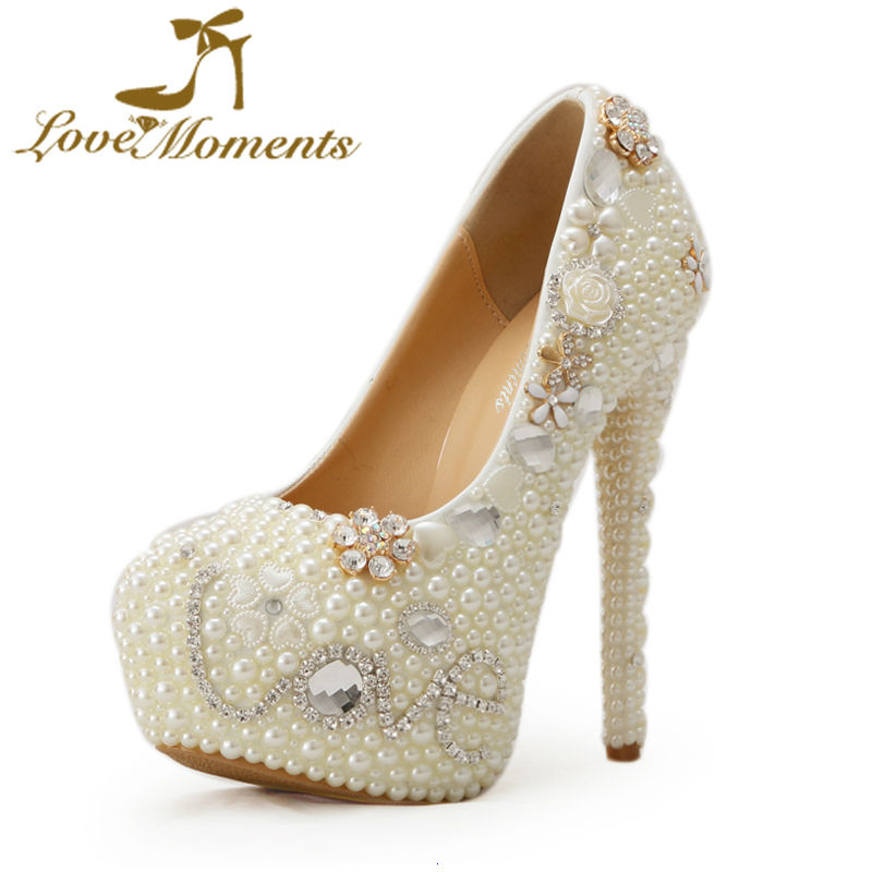 2018 Hot Selling Luxury Wedding Dress Shoes Ivory Pearl Handmade Bride Shoes 14cm Super High Heel Princess Pumps Plus Size 122018 Hot Selling Luxury Wedding Dress Shoes Ivory Pearl Handmade Bride Shoes 14cm Super High Heel Princess Pumps Plus Size 12