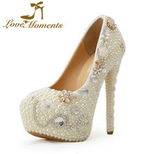 Love Moments women shoes white pearl high heels wedding shoes bride party shoes for woman ladies
