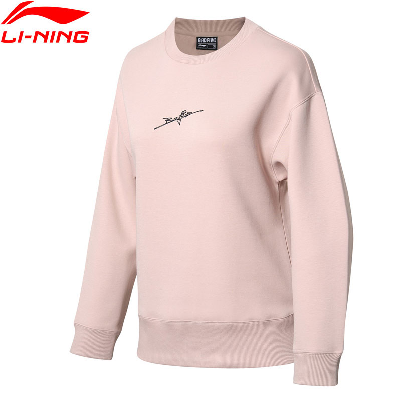 Li Ning Women BAD FIVE Basketball Sweat Top Loose Fit Comfort Pullover LiNing Leisure Sports Sweater