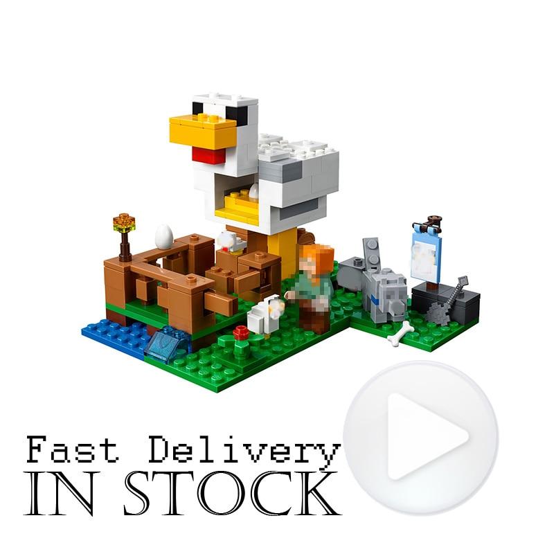 LEPIN My World Minecraft 18035 222PCS the Chicken Coop Building Blocks Bricks enlighten DIY toys for Kids gift Compatible 21140 yuego toys high brick 1 4 60p diy kid woma diamond building blocks enlighten playmobil abs decool minecraft