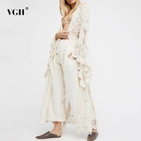 VGH 2019 Long Length Korean Women's Shirt V Neck Long Sleeve Lace Perspective Embroidery Print Blouse Female Fashion New Summer