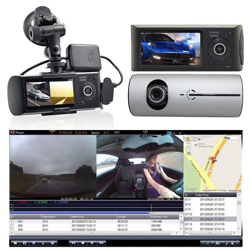 Car DVR Camera-Recorder Gps-Tracker Car-Camera Vehicle Video-Tachograph G-Sensor Dual-Lens