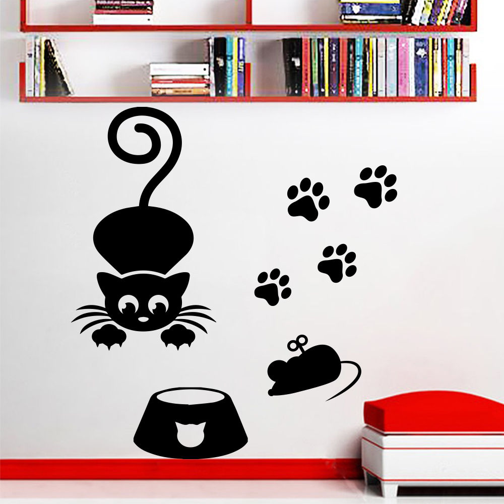 Wall Decal Cats Mouse Decals Grooming Salon Pet Shop Decor Sticker Vinyl