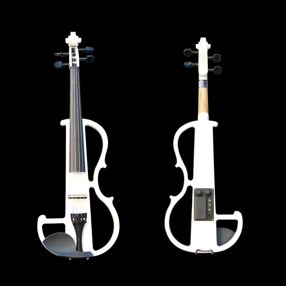 High quality, 4/4  violin Send violin Hard case, Handmade white/Black electric violin with power lines FREE SHIPPING transparent 4 4 violin led light send violin hard case electric violin with colorful power lines and violin parts for lover