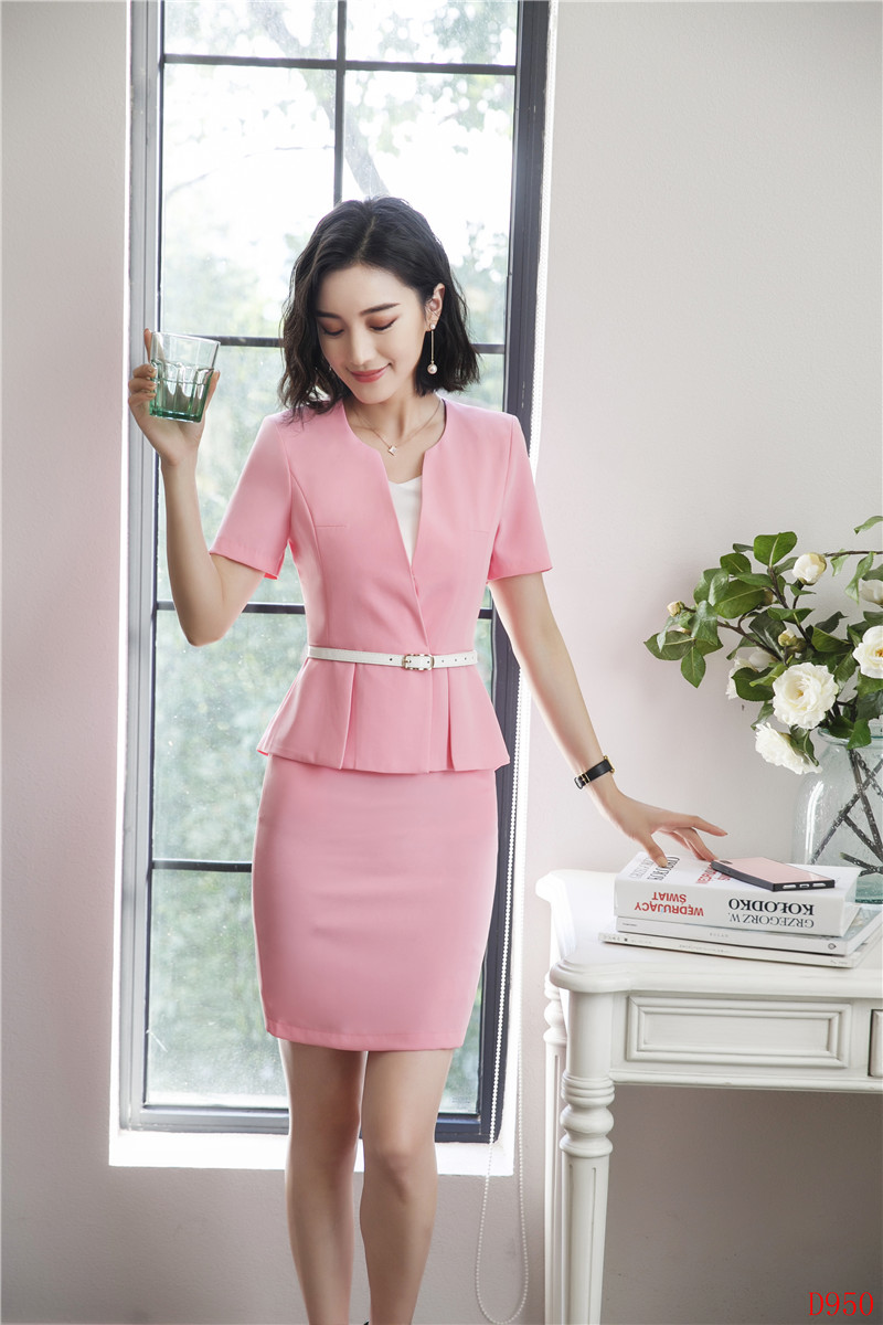 70be060c5513 2019 Summer Fashion Pink Blazer Women Business Suits With Skirt And ...