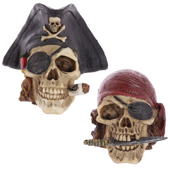 Artificial Stone Skull Caribbean Pirate Captian In Tricorn Hat Looting Skull Skeleton Gothic Ornament Figurine Skull Decoration