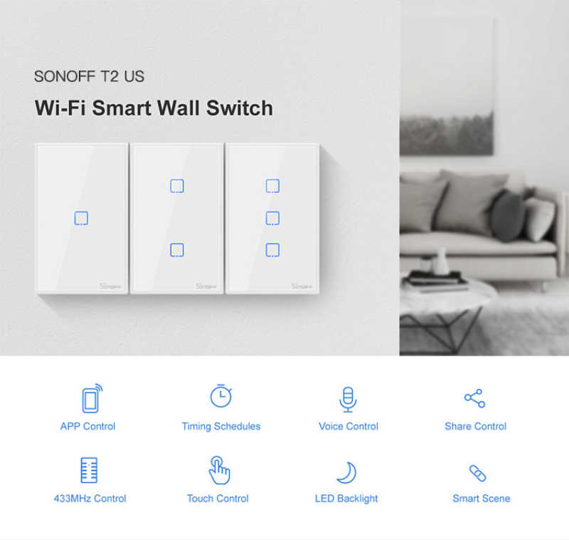 Itead Sonoff T2EU 86 tamaño 1/2/3/banda serie TX 433Mhz RF control remoto Wifi interruptor con Border funciona con Alexa Google Home