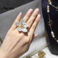 ANI 14 к рулон желтого золота Обручальное женское кольцо натуральный жемчуг ювелирные изделия специальные ручной работы дизайн anello donna цветок