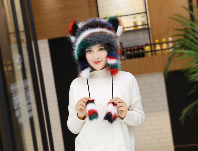 2017 Winter Faux Fox Fur Caps for Women Warm Bomber Hats with Ears Girls Novelty Cartoon Animals Party Caps Female Hats Gift 17