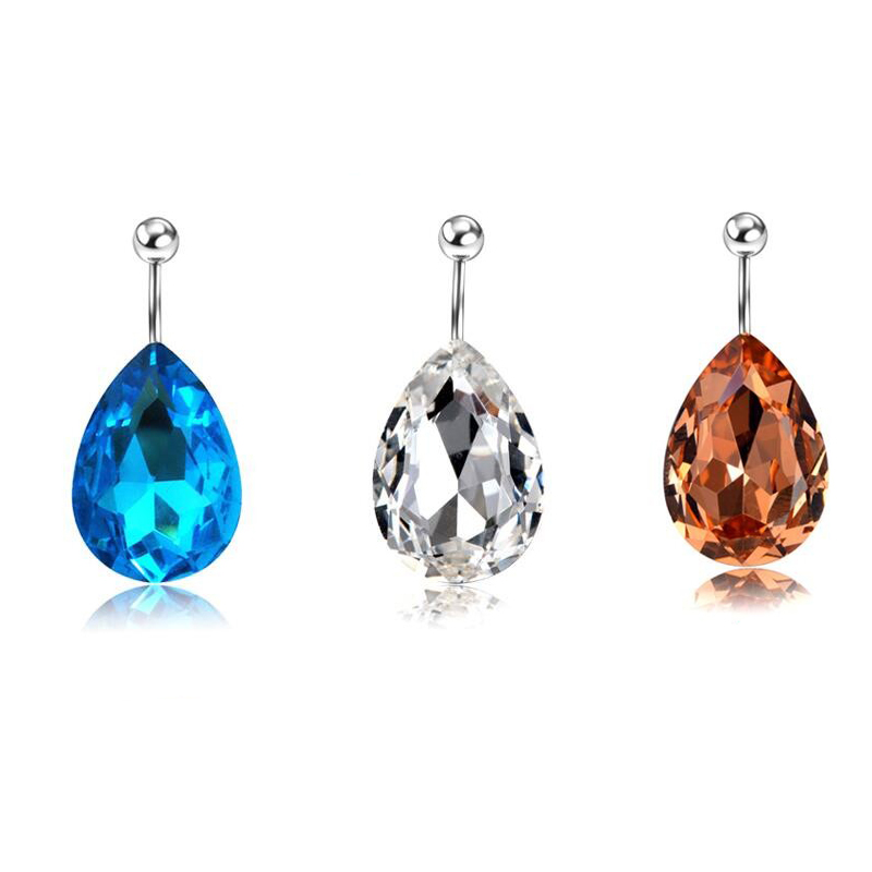 Ny Logo 16G Vann Drop Zircon Navel Piercing Ombligo Øredobber Belly Button Rings Kroppsmykker Women Beach Accessorys