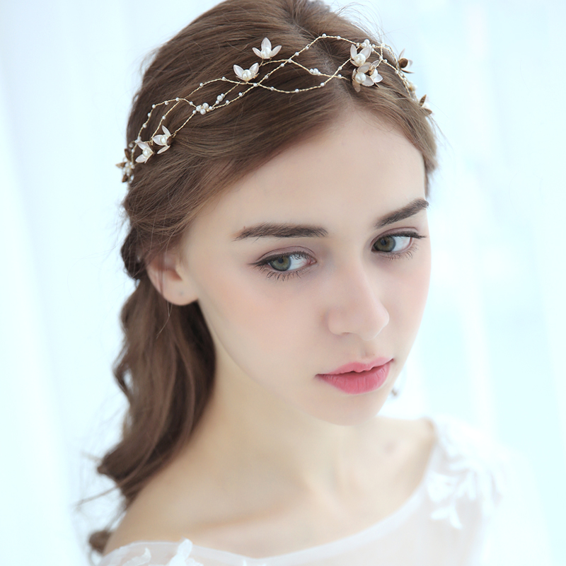 Us 13 57 49 Off Beautiful Gold Flower Headbands Pearl Bridal Hairband Tiara Wedding Hair Accessories Gift For Girls Sweet Hair Ornament In Hair