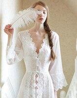 Pijama Seksi Uzun Gecelik Beyaz Dantel Bağbozumu Prenses Elbise Ortaçağ Gecelik Avrupa tarzı Saray Bornoz Güzel Vestidos