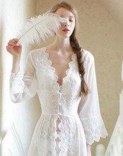Pijama seksi uzun gecelikler beyaz dantel Vintage prenses elbise ortaçağ gecelik avrupa tarzı saray elbise güzel Vestidos