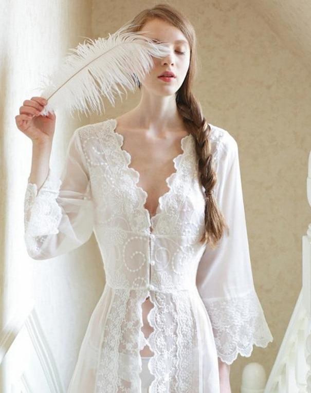 Πυτζάμες Σέξι Μακρυμάνικα Νυχτικά Λευκό Δαντέλα Vintage Πριγκίπισσα Φόρεμα Μεσαιωνικό Νυχτικό Ευρωπαϊκό Ρόμπα Ρόμπα